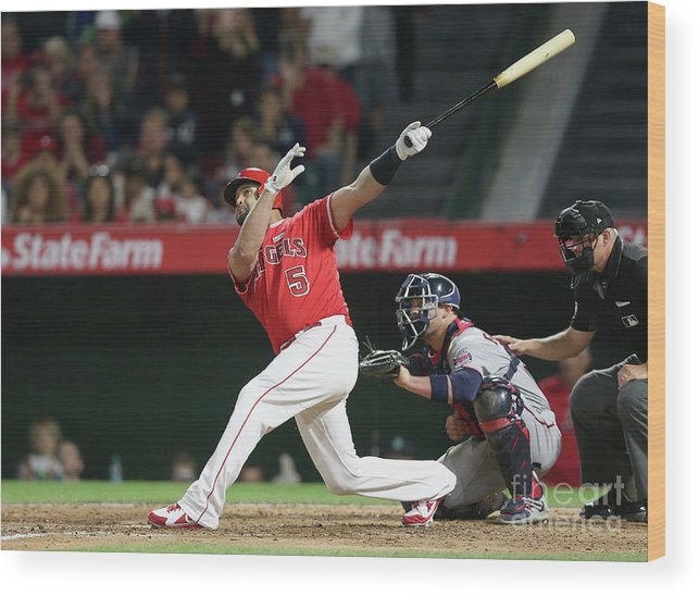 People Wood Print featuring the photograph Albert Pujols by Stephen Dunn
