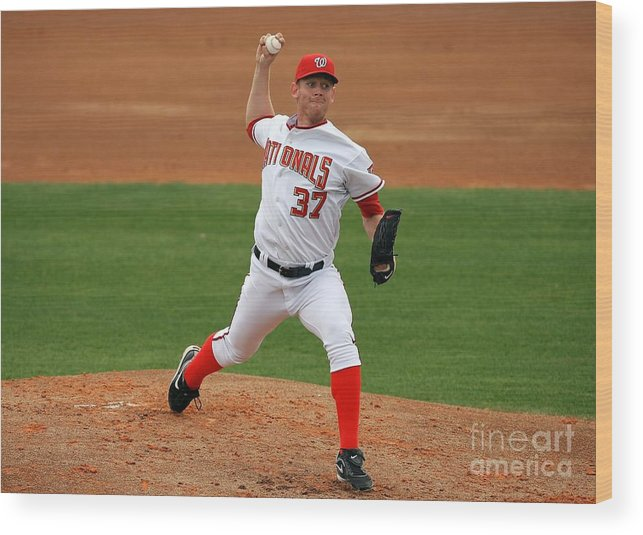 American League Baseball Wood Print featuring the photograph Stephen Strasburg by Doug Benc