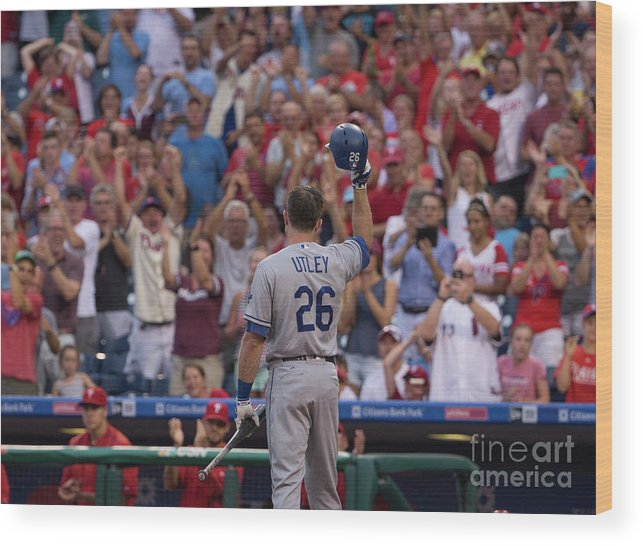 Crowd Wood Print featuring the photograph Chase Utley by Mitchell Leff