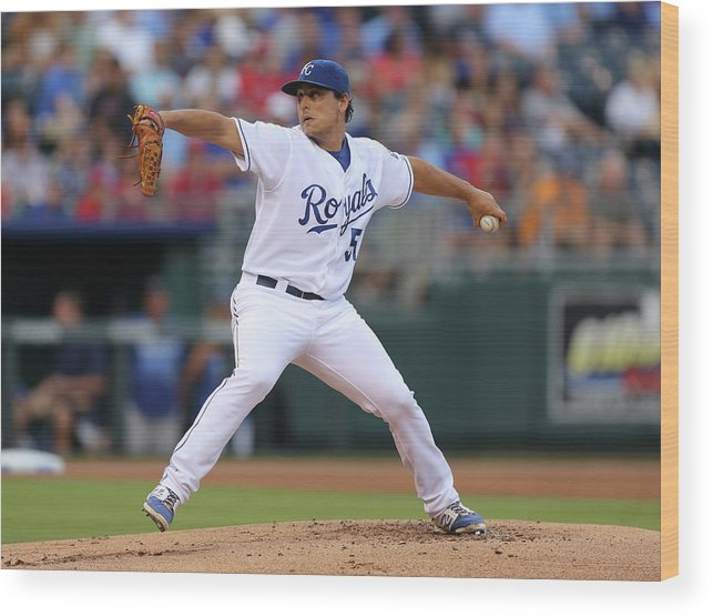 American League Baseball Wood Print featuring the photograph Jason Vargas by Ed Zurga