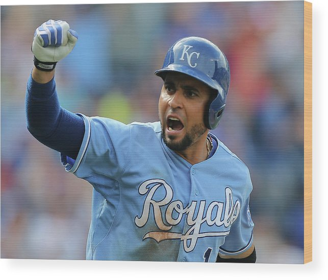 American League Baseball Wood Print featuring the photograph Omar Infante by Ed Zurga