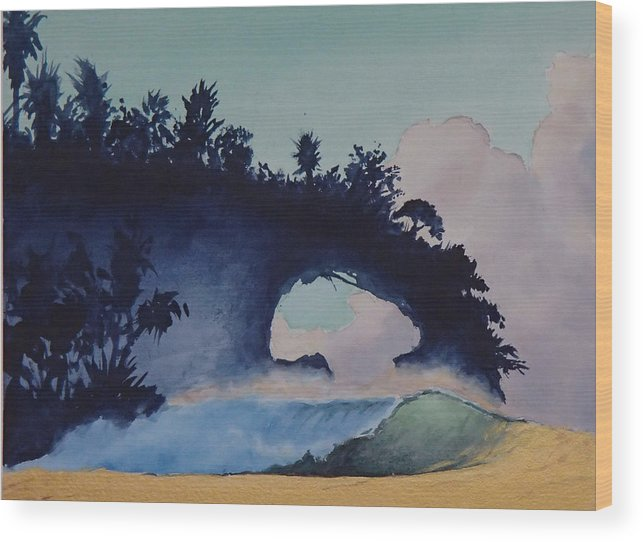 Ocean Wood Print featuring the painting Untitled 4 by Philip Fleischer