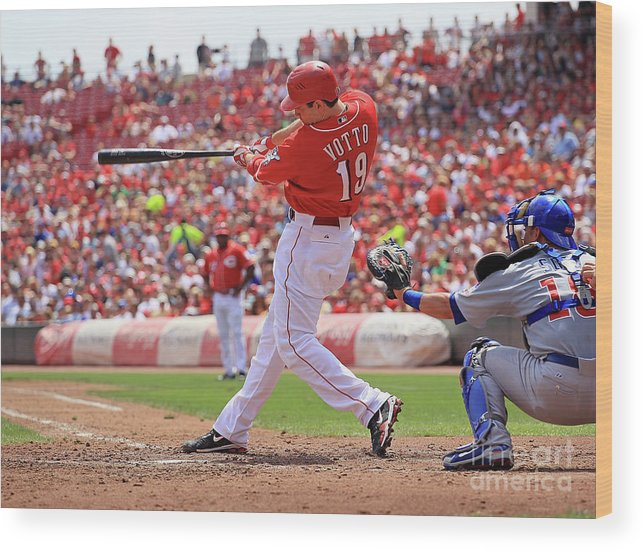 Great American Ball Park Wood Print featuring the photograph Joey Votto by Andy Lyons