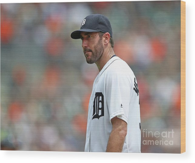 People Wood Print featuring the photograph Justin Verlander by Leon Halip