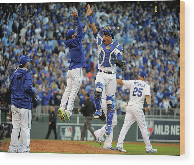 Game Two Wood Print featuring the photograph Salvador Perez by Ed Zurga