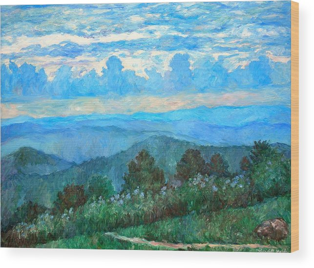 Landscape Wood Print featuring the painting A Path to Rock Castle Gorge in the Evening by Kendall Kessler