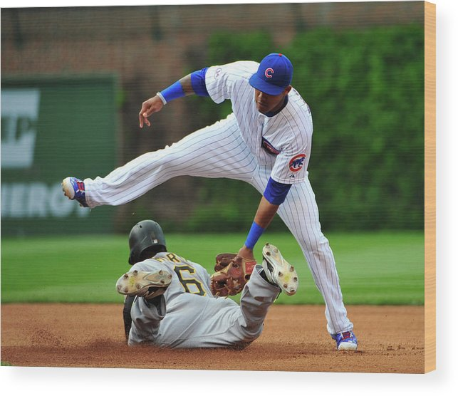 People Wood Print featuring the photograph Addison Russell and Starling Marte by David Banks