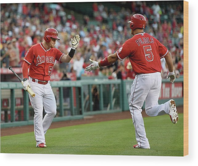 People Wood Print featuring the photograph Albert Pujols and Kole Calhoun by Harry How