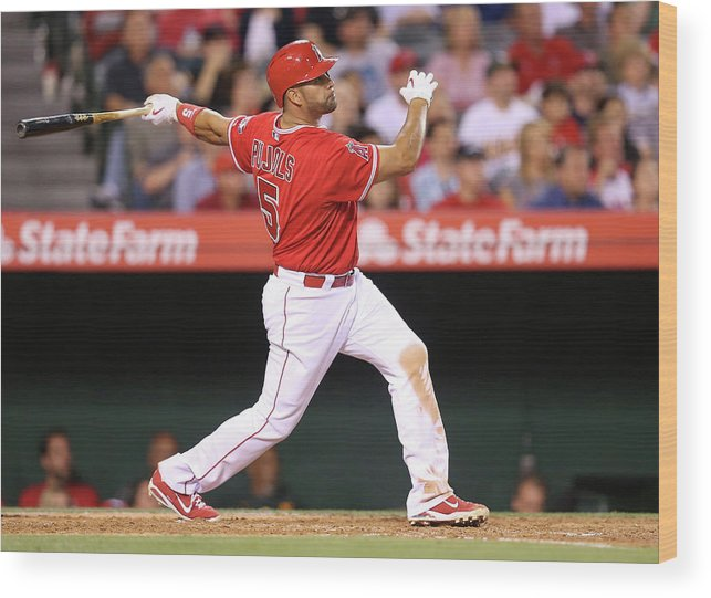 American League Baseball Wood Print featuring the photograph Albert Pujols by Stephen Dunn