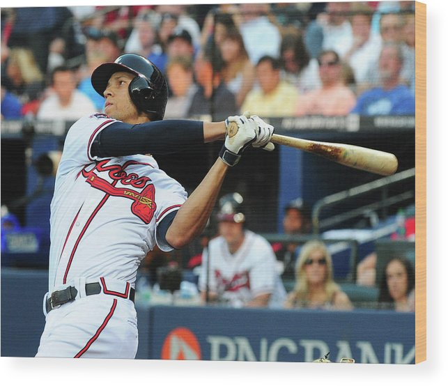 Atlanta Wood Print featuring the photograph Andrelton Simmons by Scott Cunningham