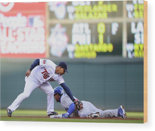 Game Two Wood Print featuring the photograph Anthony Gose and Eduardo Escobar by Hannah Foslien