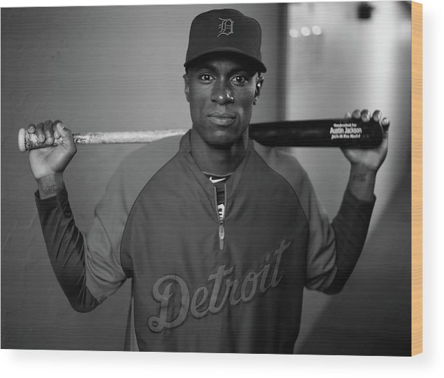 American League Baseball Wood Print featuring the photograph Austin Jackson by Jared Wickerham