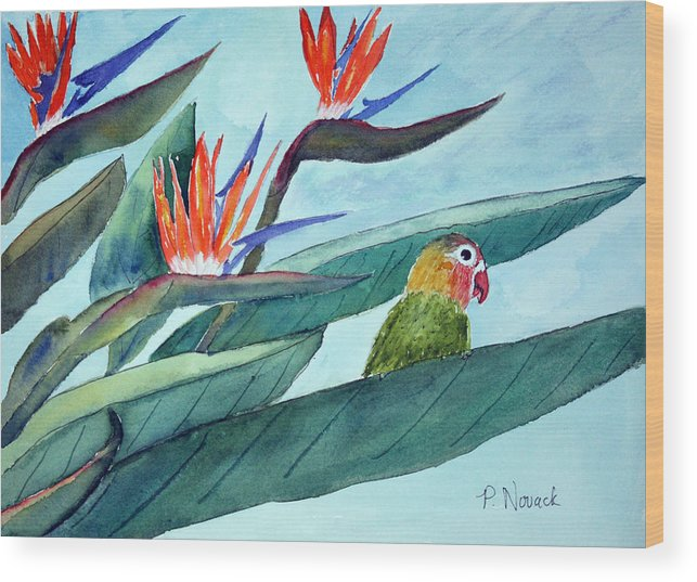 Bird Wood Print featuring the painting Bird In Paradise by Patricia Novack