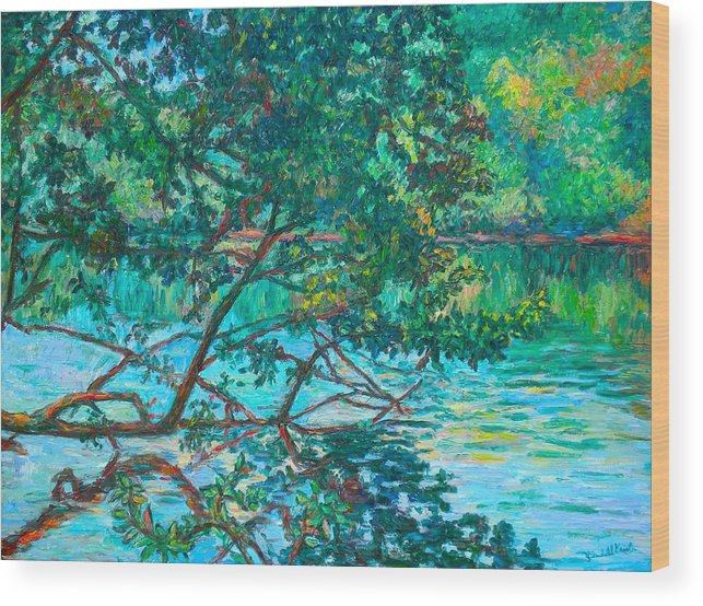 Landscape Wood Print featuring the painting Bisset Park by Kendall Kessler