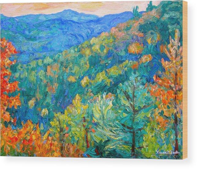 Blue Ridge Mountains Wood Print featuring the painting Blue Ridge Autumn by Kendall Kessler