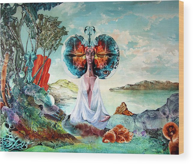 Surrealism Wood Print featuring the painting Bogomils Landing by Otto Rapp