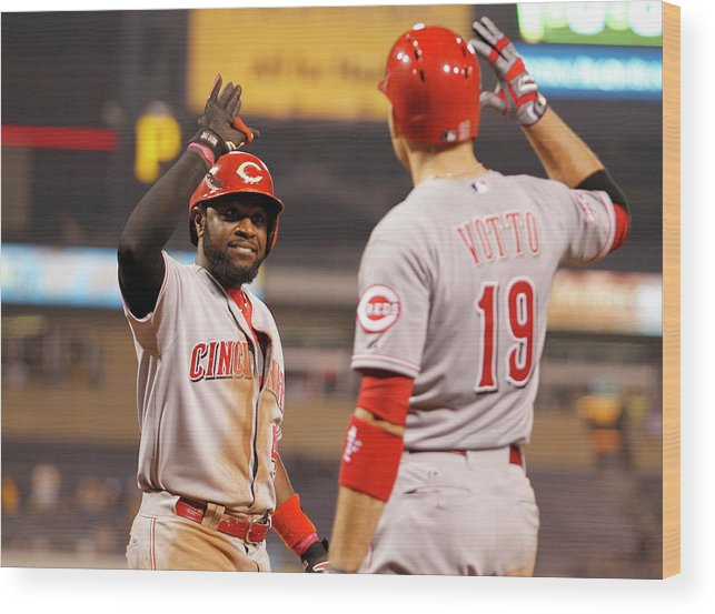 People Wood Print featuring the photograph Brandon Phillips and Joey Votto by Justin K. Aller