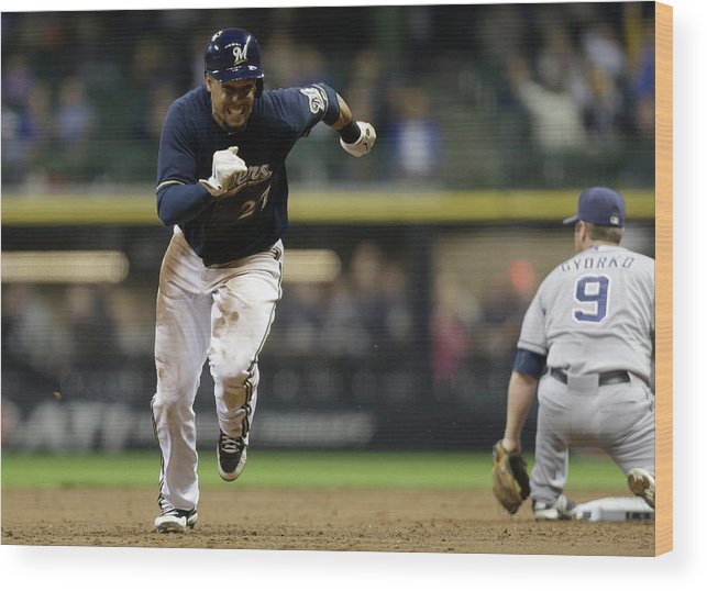 2nd Base Wood Print featuring the photograph Carlos Gomez by Mike Mcginnis