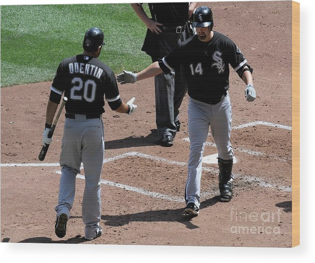 People Wood Print featuring the photograph Carlos Quentin and Paul Konerko by Hannah Foslien