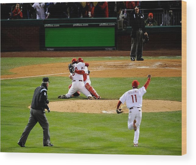 Baseball Catcher Wood Print featuring the photograph Carlos Ruiz, Brad Lidge, and Jimmy Rollins by Jeff Zelevansky