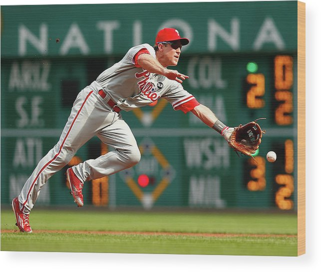 Second Inning Wood Print featuring the photograph Chase Utley by Jared Wickerham