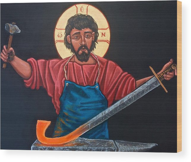 Iconography Wood Print featuring the painting Christ Swords into Plowshares by Kelly Latimore
