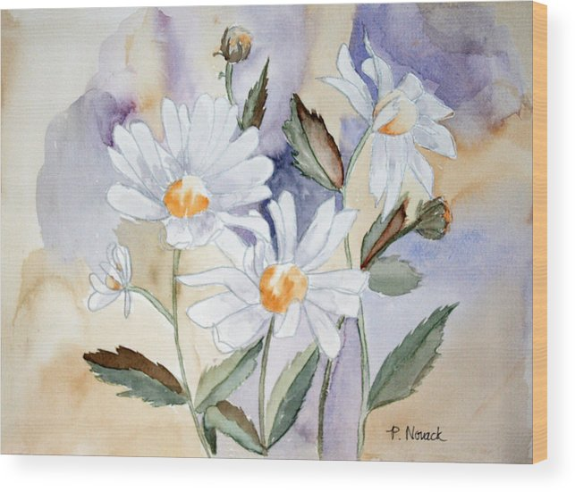 Flowers Wood Print featuring the painting Daisy Days by Patricia Novack