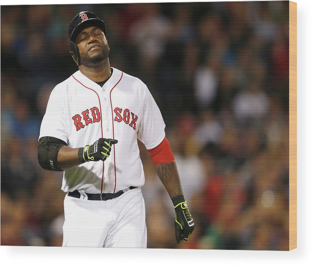 American League Baseball Wood Print featuring the photograph David Ortiz by Jim Rogash
