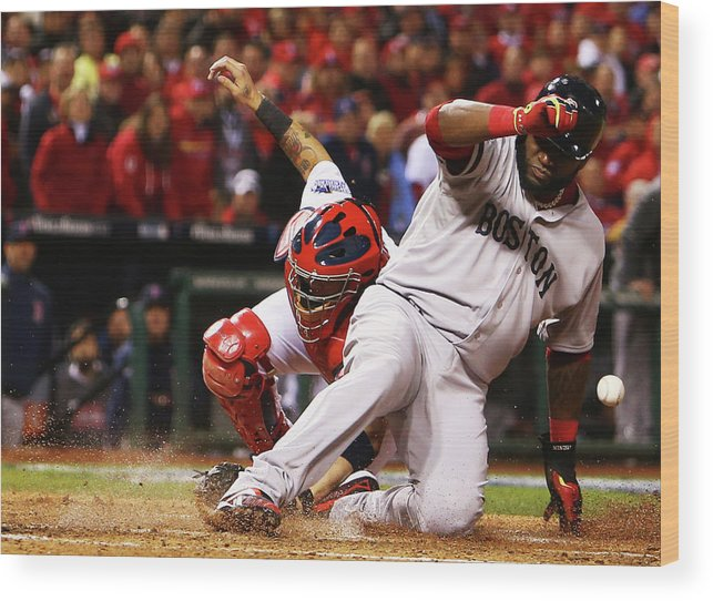 American League Baseball Wood Print featuring the photograph David Ortiz, Stephen Drew, and Lance Lynn by Dilip Vishwanat