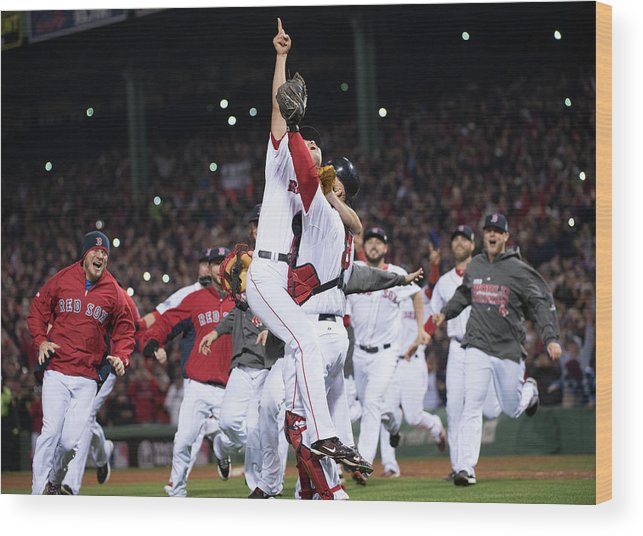 Playoffs Wood Print featuring the photograph David Ross and Koji Uehara by Ron Vesely
