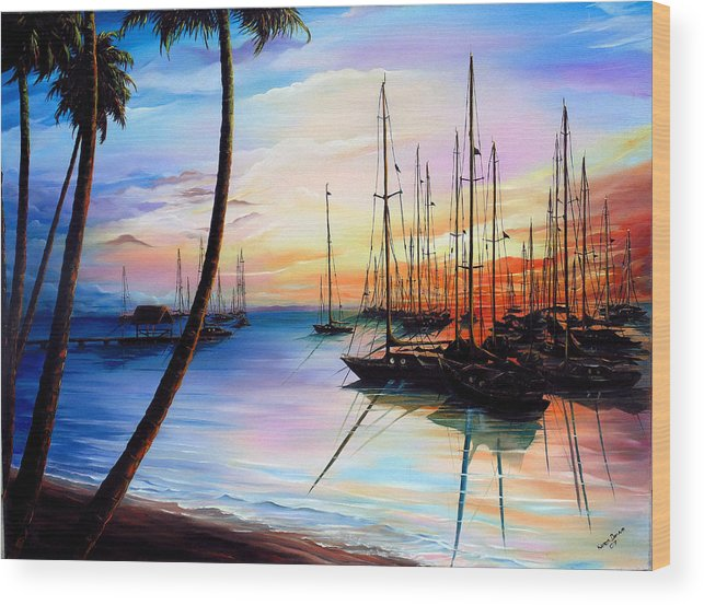 Ocean Painting Seascape Yacht Painting Sailboat Painting Sunset Painting Tropical Painting Caribbean Painting Yacht Painting At The End Of A Yachting Regatta At Pigeon Point Tobago Painting Wood Print featuring the painting DAYS END Yachting Regatta At Pigeon Point Tobago by Karin Dawn Kelshall- Best