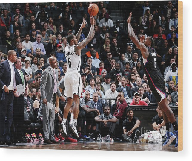 Nba Pro Basketball Wood Print featuring the photograph Deandre Jordan and Sean Kilpatrick by Nathaniel S. Butler
