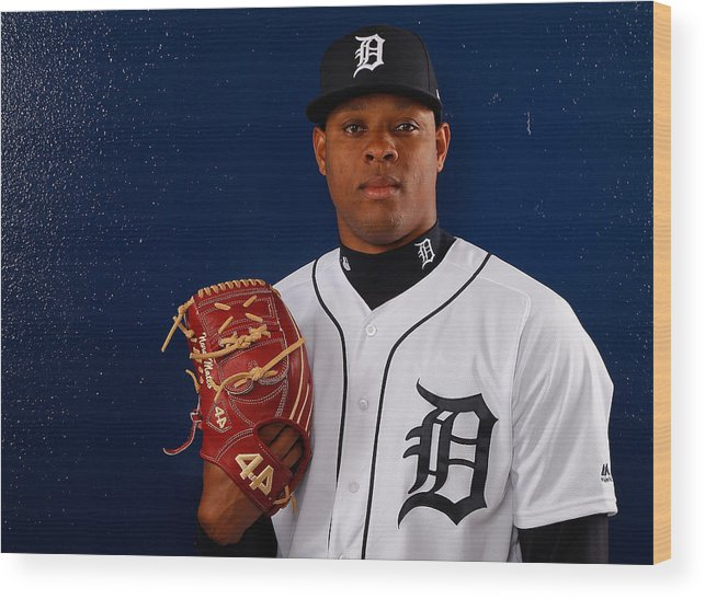 American League Baseball Wood Print featuring the photograph Detroit Tigers Photo Day by Kevin C. Cox