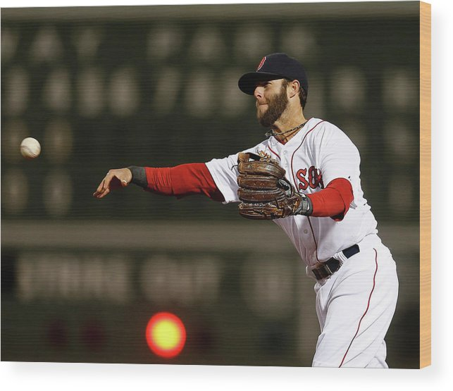 American League Baseball Wood Print featuring the photograph Dustin Pedroia and Adam Jones by Jim Rogash