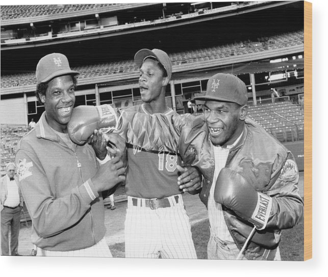 Event Wood Print featuring the photograph Dwight Gooden, Darryl Strawberry, and Mike Tyson by New York Daily News Archive