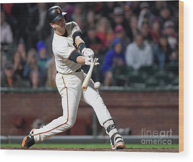 San Francisco Wood Print featuring the photograph Eduardo Nunez and Buster Posey by Thearon W. Henderson