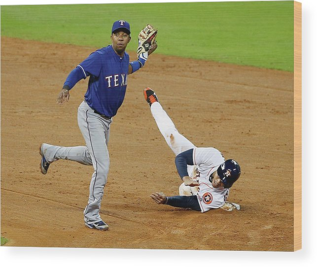 American League Baseball Wood Print featuring the photograph Elvis Andrus and George Springer by Scott Halleran