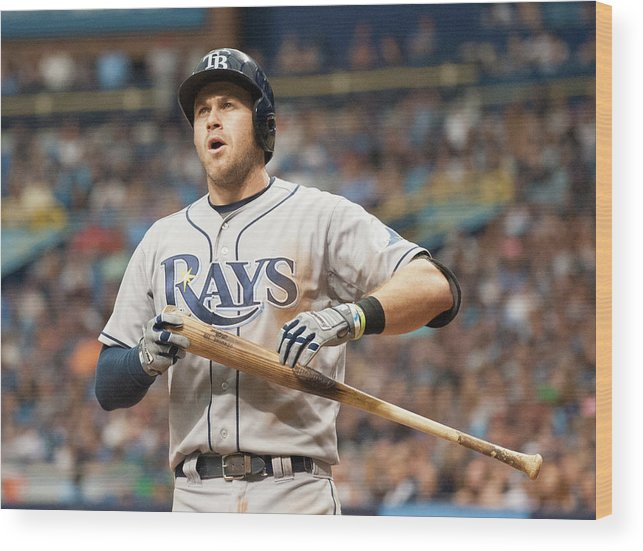 American League Baseball Wood Print featuring the photograph Evan Longoria by Cliff Mcbride