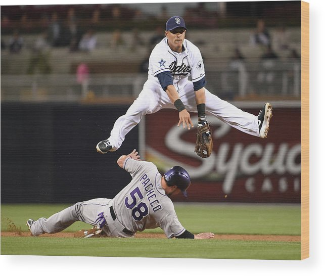 Double Play Wood Print featuring the photograph Everth Cabrera and Jordan Pacheco by Denis Poroy