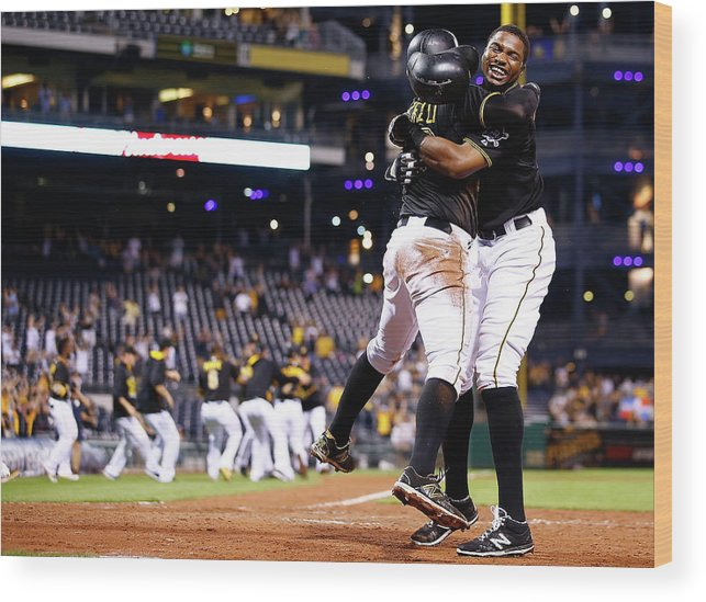 People Wood Print featuring the photograph Francisco Cervelli and Gregory Polanco by Jared Wickerham