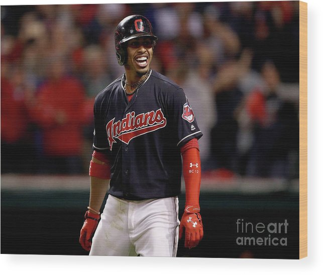 Three Quarter Length Wood Print featuring the photograph Francisco Lindor and Marco Estrada by Maddie Meyer