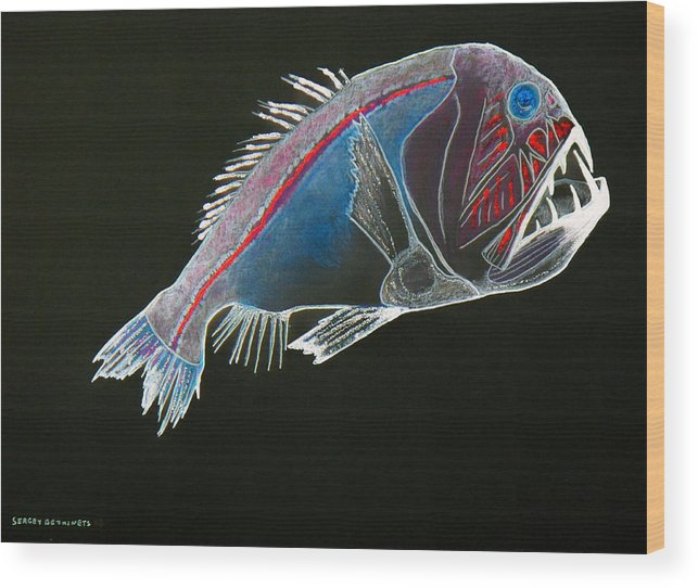 Fossil Wood Print featuring the drawing From The Abyss by Sergey Bezhinets
