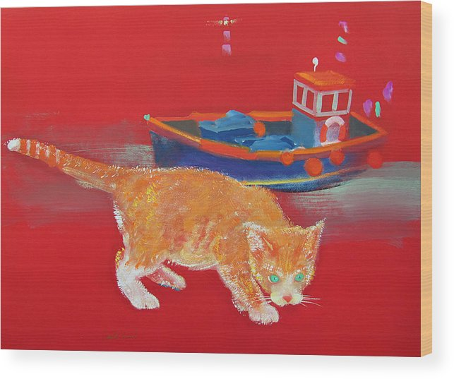 Cat Wood Print featuring the painting Ginger Tabby Cat by Charles Stuart