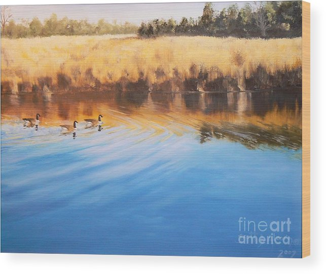 Geese Wood Print featuring the painting Gorham s Bluff Geese by Scott Alcorn