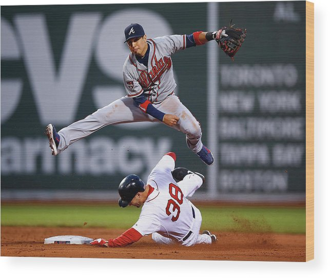 Double Play Wood Print featuring the photograph Grady Sizemore and Ramiro Pena by Jared Wickerham