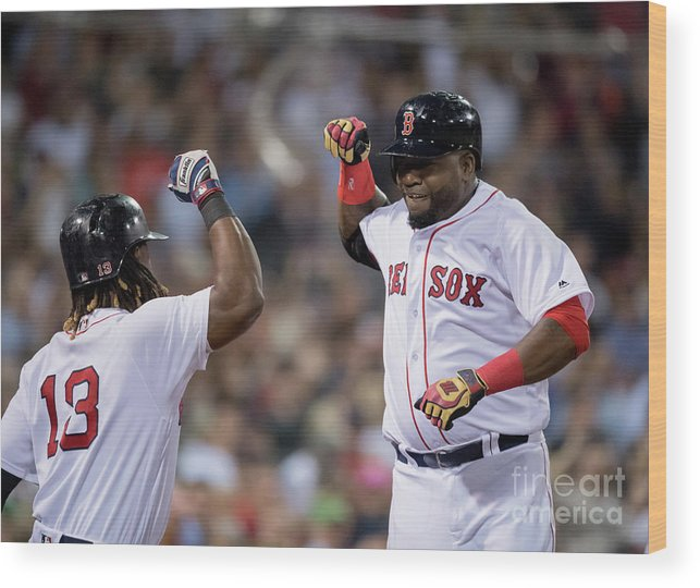 People Wood Print featuring the photograph Hanley Ramirez and David Ortiz by Michael Ivins/boston Red Sox