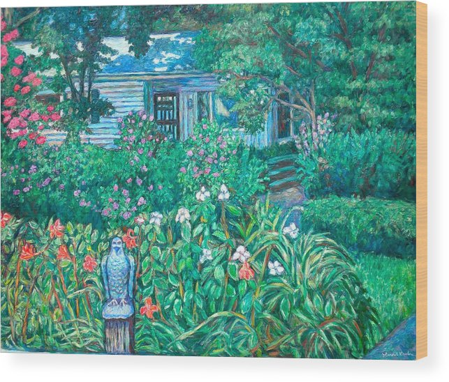 Landscape Wood Print featuring the painting House on Chesterbrook Road in McLean by Kendall Kessler