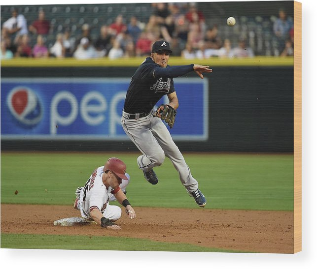 Double Play Wood Print featuring the photograph Jace Peterson and Chris Owings by Norm Hall