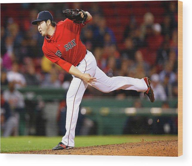 American League Baseball Wood Print featuring the photograph Junichi Tazawa by Jared Wickerham