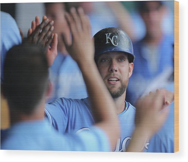 Second Inning Wood Print featuring the photograph Justin Maxwell And Alex Gordon by Ed Zurga